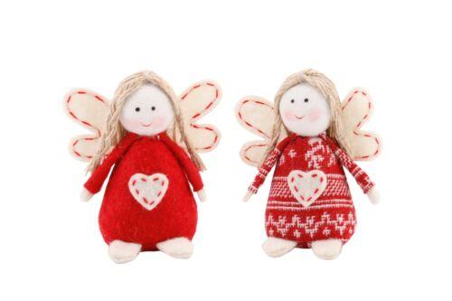 Cute Nordic Felt Hanging Beanbag Angels Christmas Tree Decoration Set of 2