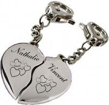 porte clés coeur cassé gravé personnalisé+prenoms +dessins au choix