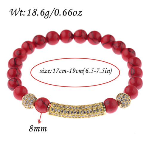 Luxe Micro Pave Zircone cubique Boules Couronne tube Charme Rouge Turquoise Perles Bracelets