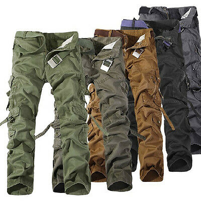 Men's Casual Military Army Cargo Camo Combat Work Pants Trousers No Belt R48