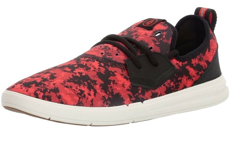 NEW - Volcom hommes rouge / noir Draft Water Friendly Chaussures Sneaker -