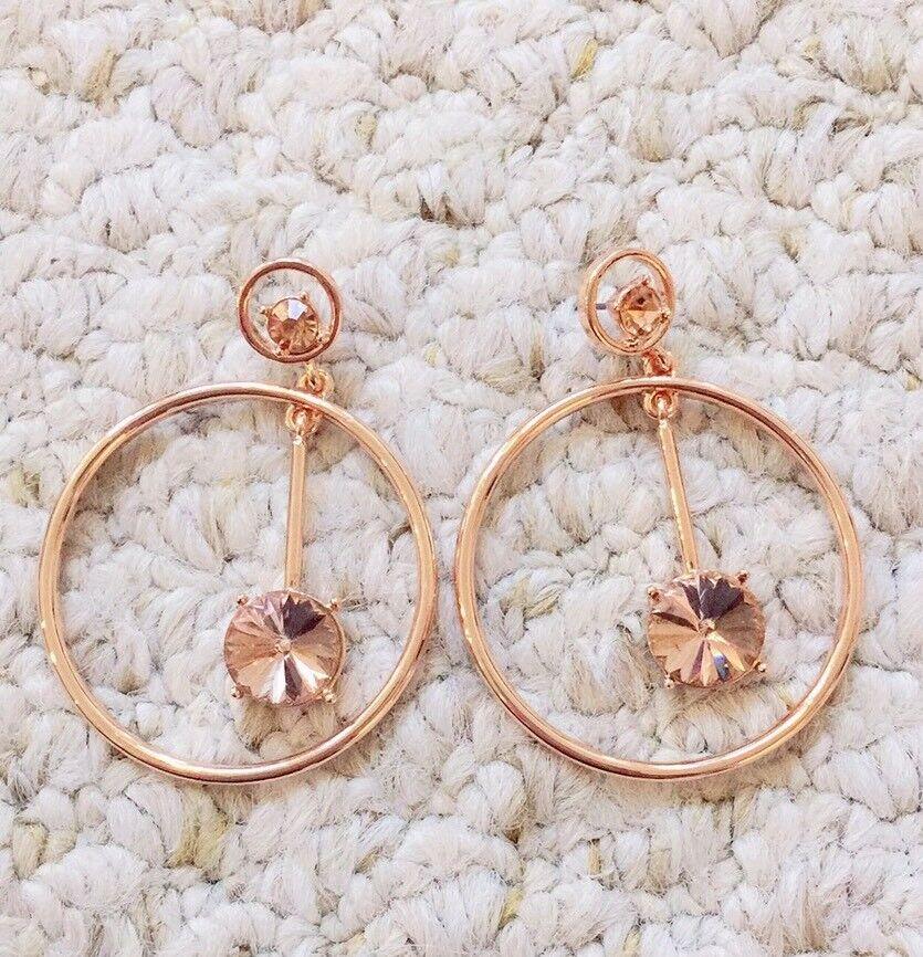 Oscar De La Renta pink gold Ring Beige Crystal Earrings Signed
