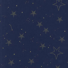 SarahJane Metallic Lucky Stars Navy  Michael Miller Fabric FQ +More 100%Cotton
