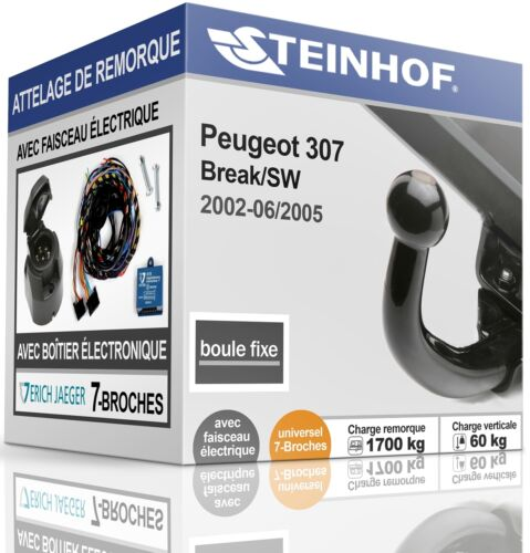 ATTELAGE fixe PEUGEOT 307 Break//SW 2002-2005+FAISC.UNIV.7-broches COMPLET