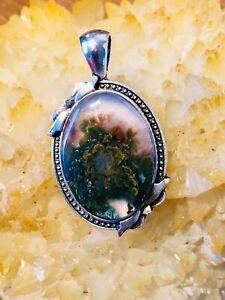 Natural-Moss-plume-Agate-Necklace-Handmade-Pendant-Gemstone-Weight-9-4-Grams