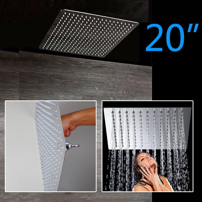 20 Inch grandi precipitazioni in acciaio inox quadrato soffione della doccia soffitto montato rubinetto