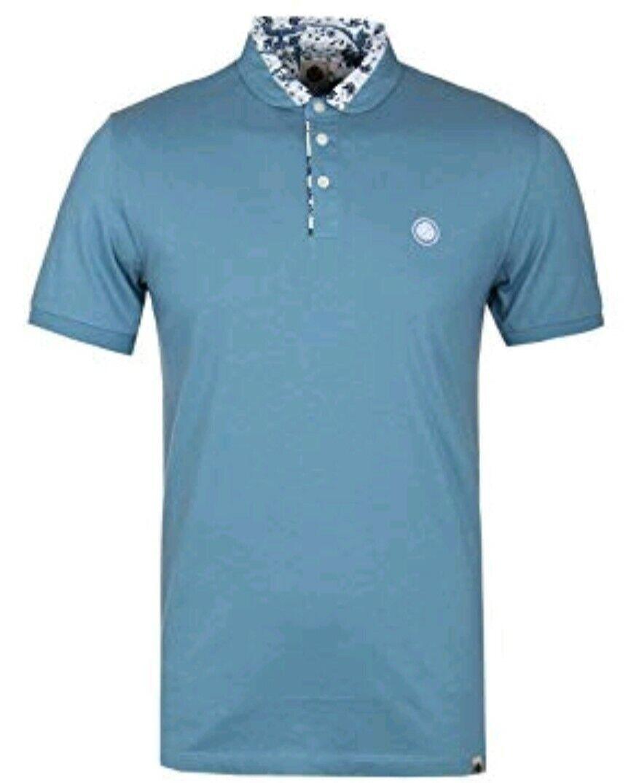 BNWT Pretty Green Floral Print Collar Polo Shirt Mid bluee M RRP A7GMU45029762