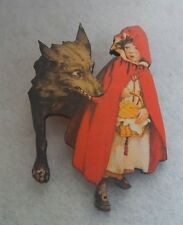 Red Riding Hood & Wolf Brooch or Scarf Pin Accessories Fashion Jewelry Wood new