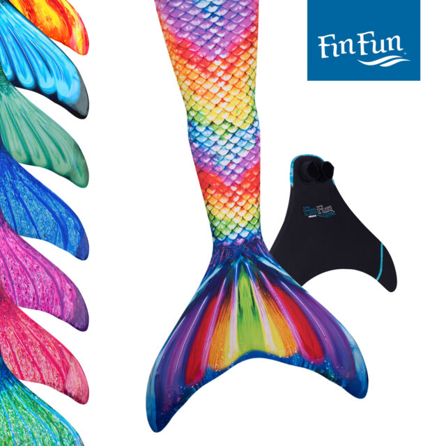 Fin Fun Mermaid Tails for Swimming - Kid's Sizes - with Monofin