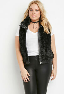 53d71cf792 Image is loading Forever-21-Black-Plus-Size-Zipped-Faux-Fur-