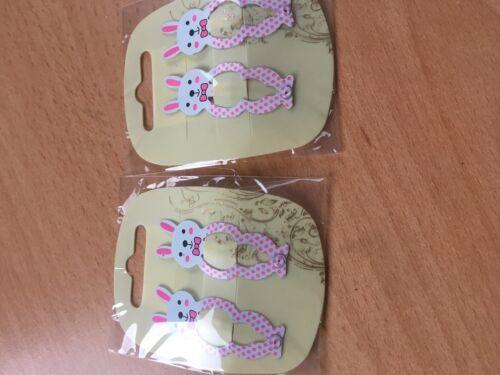 2 x pack 2 white rabbit hair bendies metal 5cm sleepies snap clips grips slides