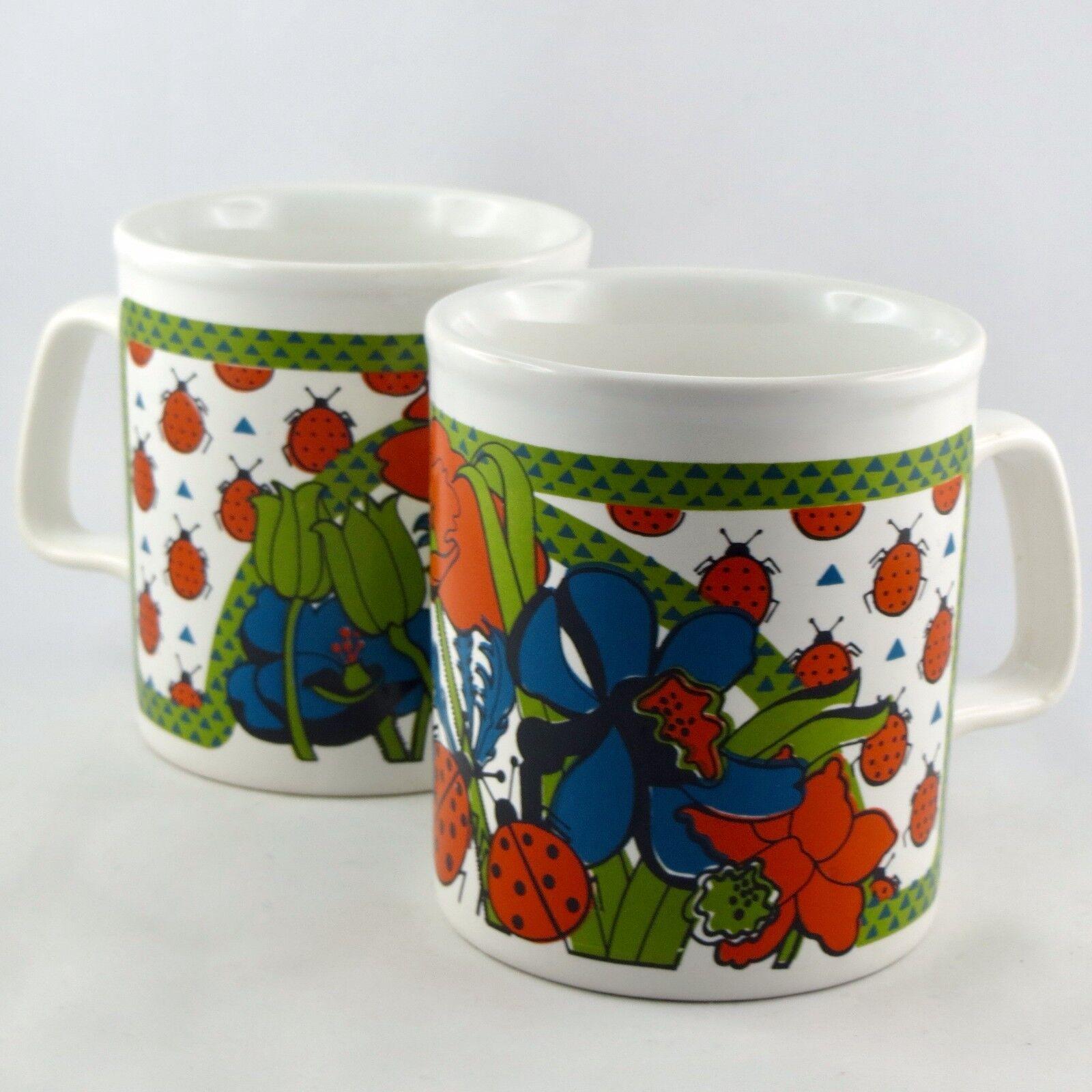 Vintage MUGS (x2)Faïence STAFFORDSHIRE  Coccinelles  Kiln Craft ladybug England