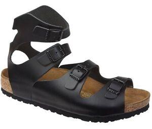 87cd29153de Image is loading Birkenstock-Athen-Sandals -Leather-Smooth-Shoes-Gladiator-Black-