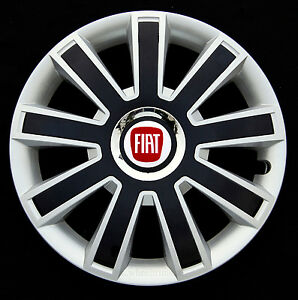 """full set silver/black 14"""" wheel trims, hubcaps to fit fiat 500   ebay"""