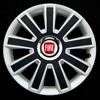 """Set COMPLETO ARGENTO 14/"""" COPRICERCHI borchie per adattarsi FIAT 500"""