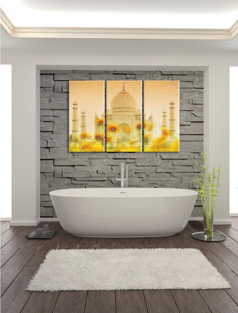 Taj Mahal en Verano Plumas Coloridas Efecto 3-Teiler Foto Foto Foto Lienzo Decoración de 6f86e9