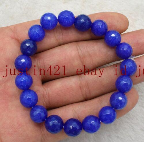 """Facettes 6//8//10//12mm BLEU SAPHIR RONDE pierres précieuses perles Stretch Bracelet 7.5/"""""""