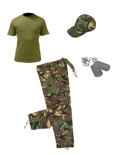 Kids Pack 3 Army Camo Fancy Dress Children/'s Soldier Outfit Shirt Pants Cap