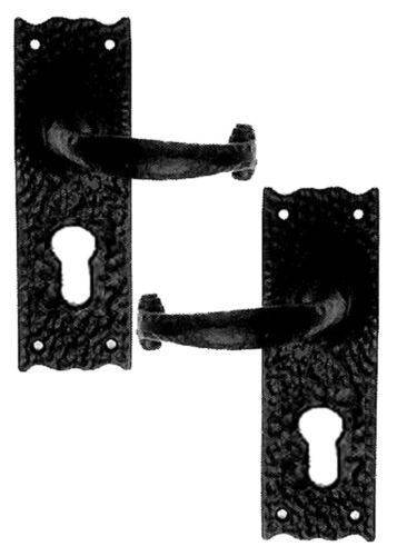 Rustic Door Handles with Euro Lock Black Cast Iron
