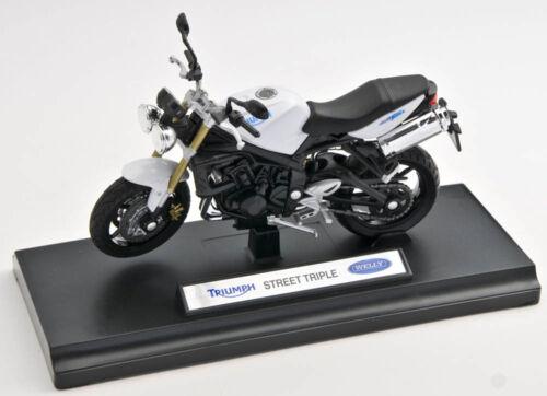 Spedizione LAMPO TRIUMPH STREET TRIPLE Welly Moto Modello 1:18 NUOVO /& OVP