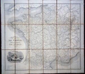 Carte-Routiere-de-la-FRANCE-1836-Firmin-Didot-74-66-cm-entoilee