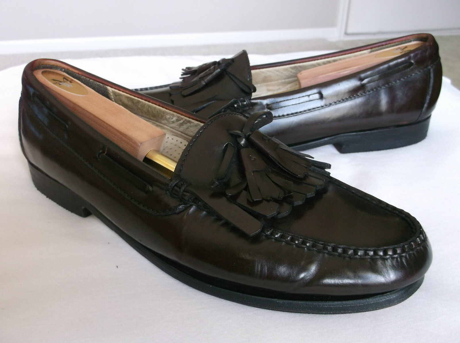 Cole Haan Mens Brown Leather Loafers Kiltie Tassels Bow 10D