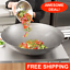 30-034-Round-Hand-Hammered-Silver-Carbon-Steel-Cantonese-Wok-Saute-Asian-Stir-Fry thumbnail 1