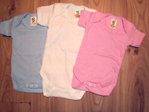 f3aaca48d5c4 Baby Boy Girl Body Suits Popper Vests Short Sleeve Blue