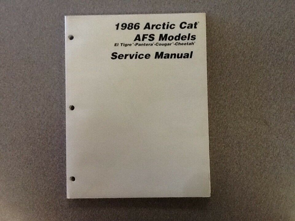 ARCTIC CAT OEM SERVICE MANUAL 1986 EL TIGRE PANTERA COUGAR CHEETAH 2254-329