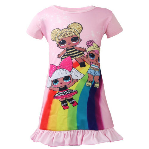 Lol Surprise Doll Game Kids Girls Dresses Sleepwear Nightdress Pyjamas Skirts