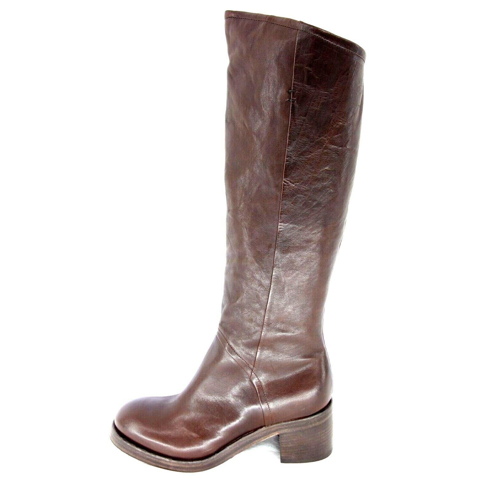 Ernesto Dolani Chaussures Femmes Bottes Greta marron cuir paragraphe élevé NP 299 NEUF