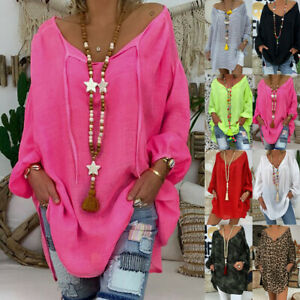 Women-Casual-Loose-Plus-Size-Long-Sleeve-V-neck-Pullover-Tops-Shirt-Tunic-Blouse