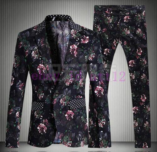 Floral Print Mens Coat/&Pant Wedding Party Chic Sequins Tuxedo Formal Dress Suits
