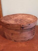 """Antique Vintage Bent Wooden Pantry Cheese Box Marked """"Colored"""""""