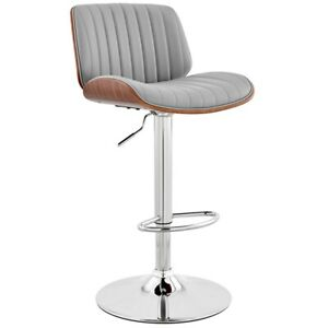 Brock Adjustable Gray Faux Leather and Walnut Wood with Chrome Finish Bar Stool