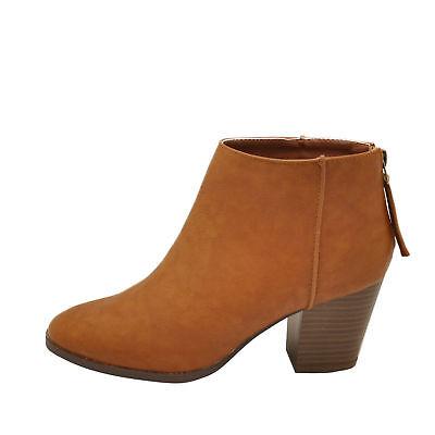 Women/'s Shoes Qupid REDA-01 Chunky Heel Ankle Booties BLACK *New*