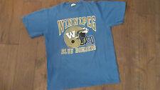 RARE vintage Winnipeg Blue Bombers CFL football tee waves medium 1988 baby blue