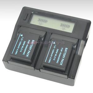 LCD-Fast-Charger-2x-Battery-for-Panasonic-DMW-BLC12-DMC-GX8-DMC-FZ200-DMC-FZ300