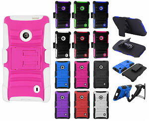 Details about For Nokia Lumia 521 HYBRID COMBO KICK STAND Rubber Case Phone  Cover Accessory
