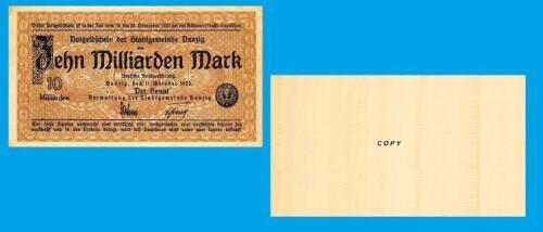 Reproductions UNC Danzig 10 milliarden mark 1923