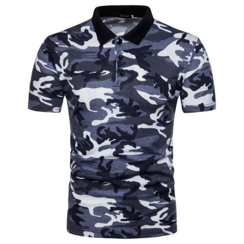 Herren T-Shirt Tee Polo Kurzarm Muskelshirt Classic Party Camo Army Tops Sommer