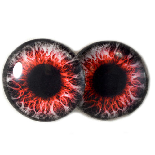Pair of 40mm Red Demon Glass Eyes Cabochons Set Halloween Jewelry Making Doll