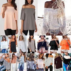 Femmes-Ete-Froid-Epaule-Decouverte-T-Shirt-Haut-Vacances-Plage-Court-en-Vrac