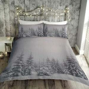 Grey-Duvet-Covers-Christmas-Snow-Season-Festive-Tree-Quilt-Cover-Bedding-Sets