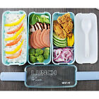 3 Layer Microwave Bento Lunch Box + Spoon Utensils Picnic Food Container Storage