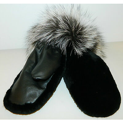 $950 BLACK SHEARED BEAVER FUR MITTENS LEATHER SILVER FOX MINK INSIDE ALL SIZES