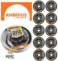 """10 x RHODIUS Alpha XT70 115mm (4-1/2"""") Thin Slit 1.0mm Inox Cutting Discs/Blades"""