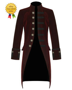Goth Red Giacca Vtg Velvet Steampunk Victorian New Tailcoat Mens agqYfY