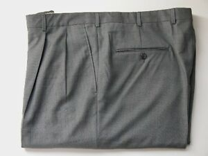 0c7eadf4576628 Details about MEN'S HICKEY FREEMAN-WAIST 40-PLEATED-LIGHT GRAY PATTERNED  WOOL DRESS PANTS