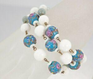 Vintage-Marvella-Italian-Murano-Wedding-Cake-Art-Glass-Bracelet-Earring-Set